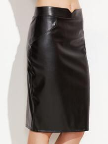 Black V Cut PU Pencil Skirt