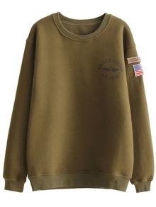 Army Green Printed Sweatshirt With Patch Detail