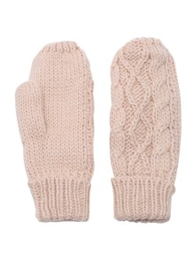Beige Cable Knit Gloves
