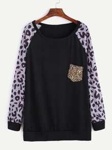 Black Contrast Raglan Sleeve Sequin Pocket T-Shirt