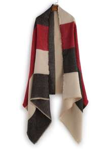Colorblock Raw Edge Long Shawl Scarf