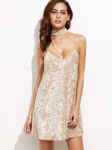 Apricot Crushed Velvet Cami Dress With Neck Tie