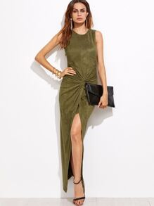 Olive Green Faux Suede Twist Front Asymmetric Dress