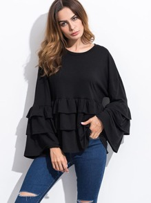 Black Ruffle Tiered T-shirt