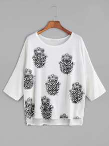 White Print Slit Side High Low T-shirt