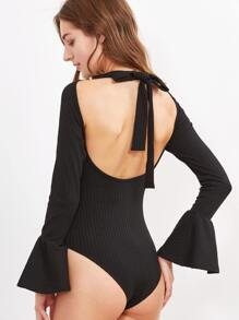 Black Tied Open Back Bell Cuff Ribbed Bodysuit