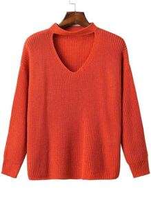 Red Choker V Neck Drop Shoulder Sweater