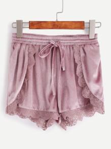 Purple Lace Trim Drawstring Waist Velvet Wrap Shorts