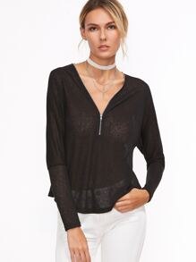 Black Zip Neckline Sheer Dolman Sleeve T-shirt