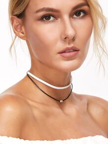 Black And White Double Layered Beaded Choker Necklace