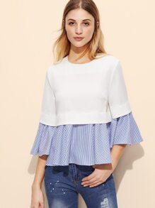 White And Blue Striped Ruffle Top