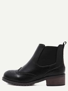 Black Wingtip Elastic Cork Heel Boots