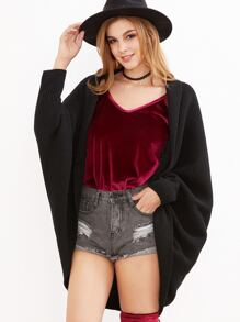 Black Shawl Collar Open Front Cocoon Cardigan