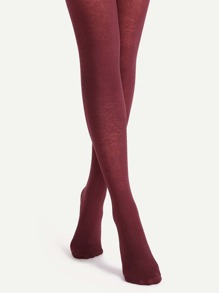 Burgundy Floral Jacquard Sheer Pantyhose Stockings
