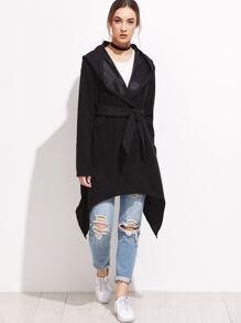Black Asymmetrical Hem Hooded Self Tie Coat