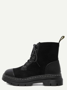 Black Plush Leather Lace Up Cap Toe Booties