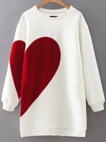 White Heart Pattern Ribbed Trim Sweatshirt Dress
