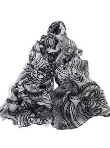White Autumn New Flower Printed Long Voile Scarf