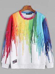 White Paint Drip Print Sweatshirt