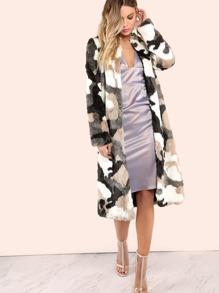 Multi Fur Longline Coat BLACK