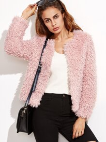 Pink Faux Fur Collarless Open Front Coat