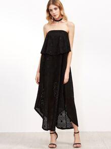 Black Geo Pattern Keyhole Back Layered Bandeau Dress