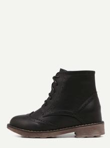 Black Cap Toe Topstitch PU Hidden Heel Booties