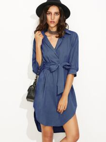 Blue Self Tie High Low Curved Hem Shirt Dress