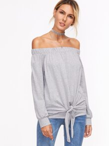 Grey Off The Shoulder Knotted Sweatshirt