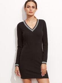 Black Striped Trim Bodycon Dress
