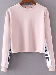 Pink Color Block Crew Neck Sweatshirt