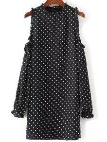 Black Polka Dot Open Shoulder Ruffle Trim Dress