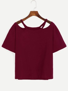 Burgundy Cutout Neck T-shirt