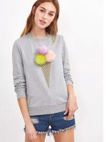 Heather Grey Fluffy Ice Cream Sweatshirt