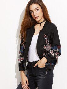 Black Flower Embroidered Ribbed Trim Bomber Jacket