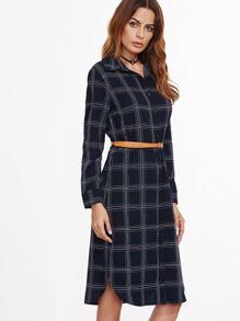 Tartan Plaid Slit Side Curved Hem Dress With Belt