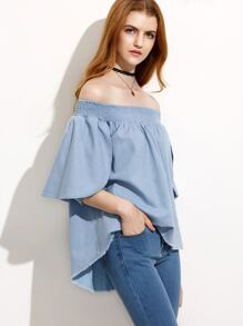Blue Ruffle Trim Off The Shoulder Chambray Top