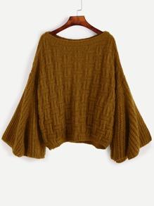Khaki Bell Sleeve Loose Sweater