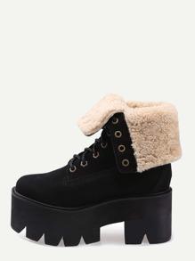 Black Faux Suede Fur Lined Platform Boots