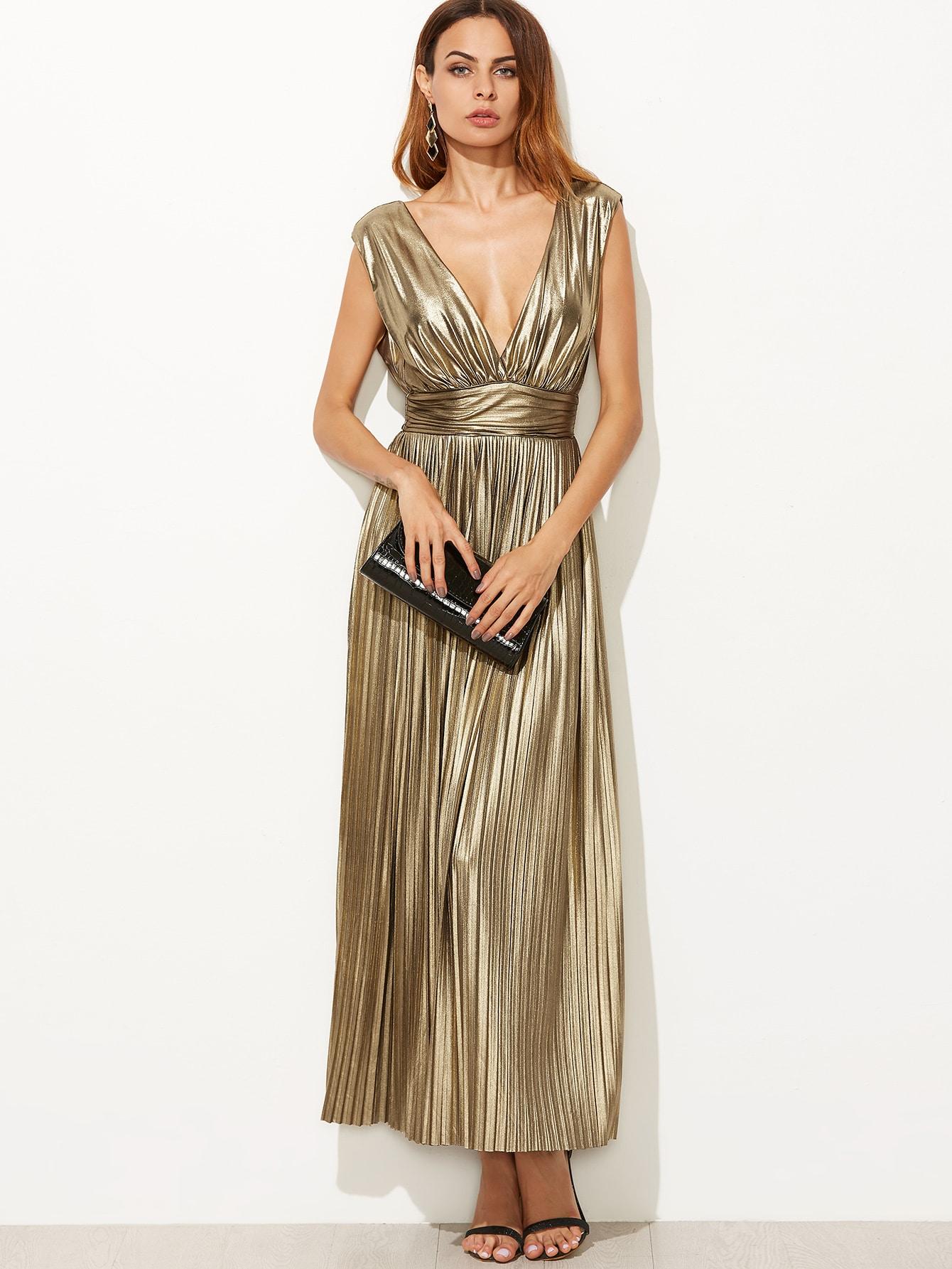 Metallic Gold Plunge Neck High Waist Pleated Dress EmmaCloth-Women ...