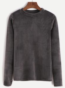 Dark Grey Mock Neck Velvet T-shirt