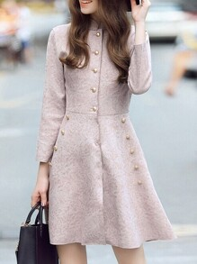 Pink Collar Pockets A-Line Dress