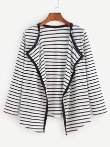 Contrast Striped Draped Collar Coat