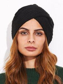 Black Ribbed Knit Turban Hat