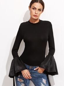 Black Bell Sleeve Slim T-Shirt