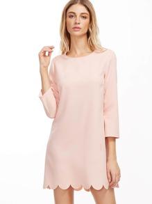 Pink Scallop Hem Tunic Dress