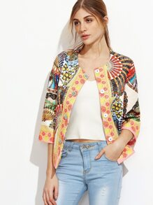 Multicolor Folding Fan Print Collarless Jacquard Blazer