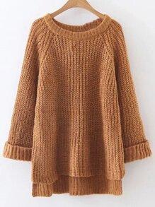 Khaki Raglan Sleeve Dip Hem Sweater
