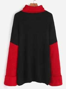 Contrast Turtleneck Drop Shoulder Roll Sleeve Sweater
