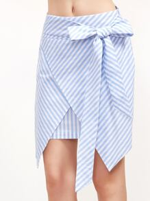 Blue Striped Belted Asymmetric Wrap Skirt